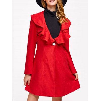 One Button Flounce Slimming Coat