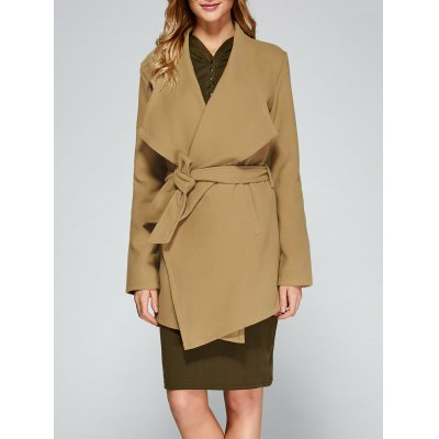 Asymmetric Trench Coat With Belt