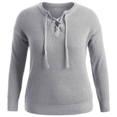 Pullover Lace Up Sweater