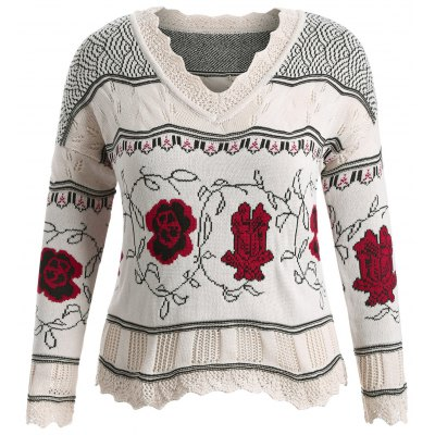 Plus Size Floral Pattern Sweater