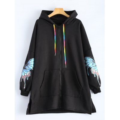 Butterfly Print Pocket Design Zip Up Hooded Coat