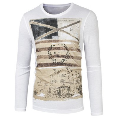 Long Sleeve Round Neck Graphic Printed Tee