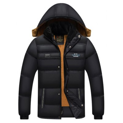 Elastic Cuff Zip Up Flocking Hooded Padded Jacket