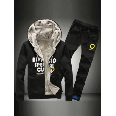 Flocking Graphic Hoodie and Drawstring Pants Twinset