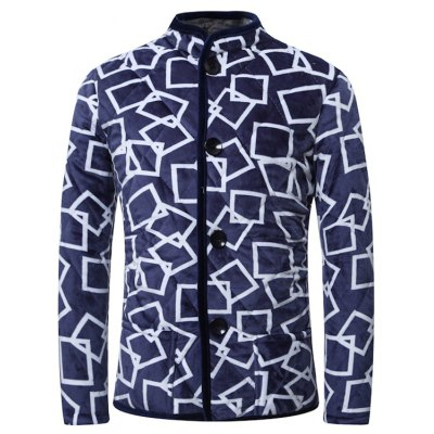 3D Square Print Stand Collar Quilted Jacket
