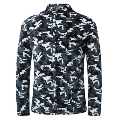 3D Camouflage Print Stand Collar Quilted Jacket