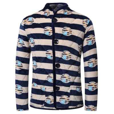 3D Stripe Print Stand Collar Quilted Jacket
