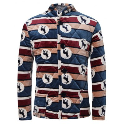 3D Stripe and Goat Print Stand Collar Quilted Jacket