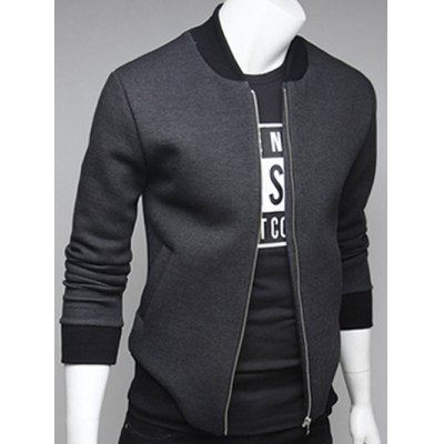 Side Pocket Rib Insert Zip Up Jacket