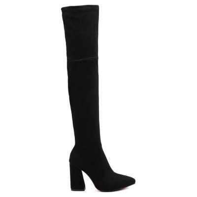 Chunky Heel Pointed Toe Thigh High Boots