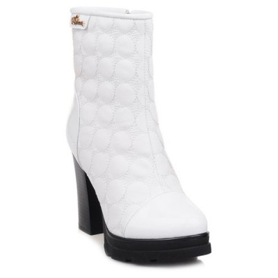 Dots Patent Leather Panel Chunky Heel Boots
