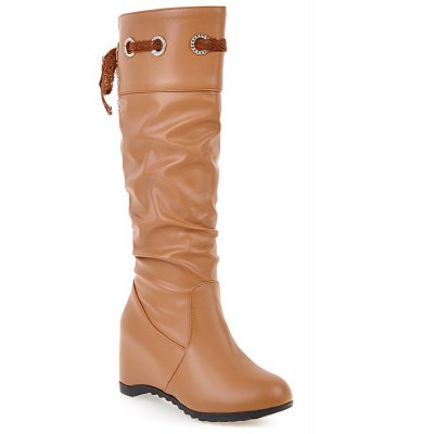 Hidden Wedge Faux Leather Boots