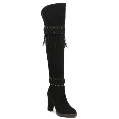 Fringe Thigh Boots