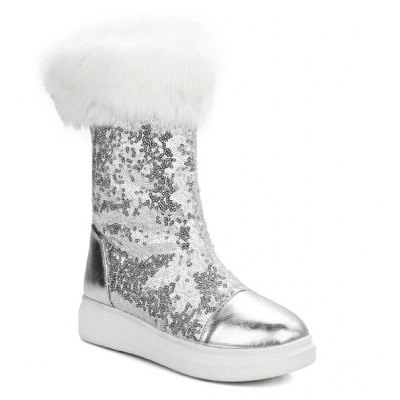 Sequined Cloth Snow Boots
