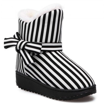 Bowknot Striped Snow Boots