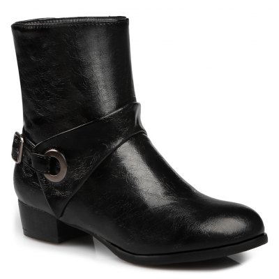 Buckle Strap Round Toe Short Boots