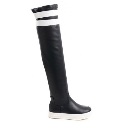 Casual PU Leather Color Block Thigh Boots