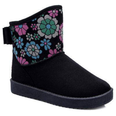 Colour Spliced Flower Pattern Bowknot Snow Boots