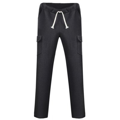 Lace Up Pockets Design Straight Leg Pants