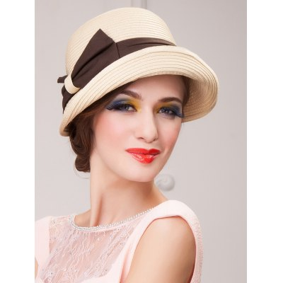 Casual Travel Bowknot Dome Brimmed Fedora Straw Hat