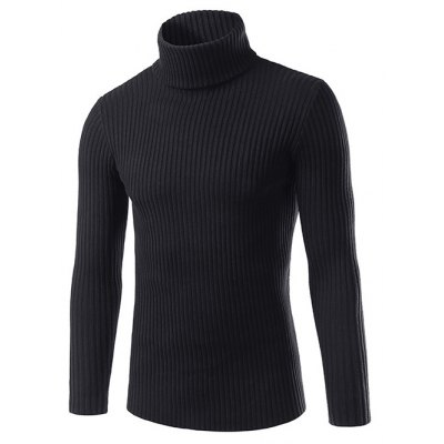 Slim Fit Roll Neck Ribbed Knitted Sweater