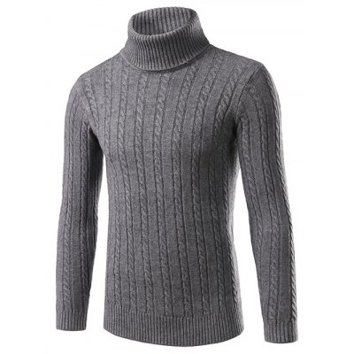 Slim Fit Turtleneck Cable Knit Sweater