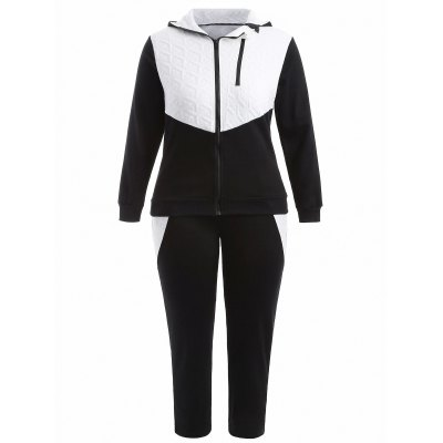 Plus Size Hooded Jacket and Contrast Pants Twinset