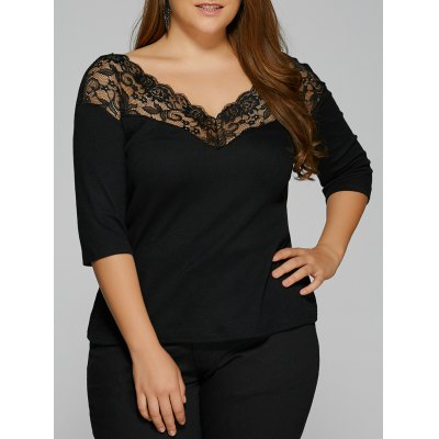 Lace Trim Insert Backless T-Shirt
