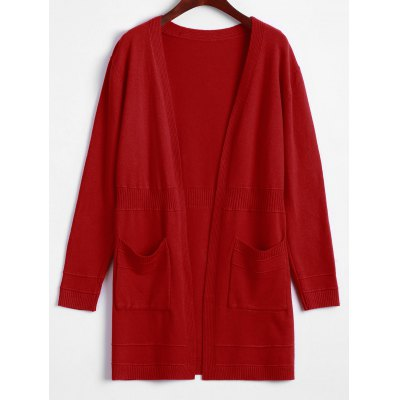 Solid Color Long Open Front Cardigan