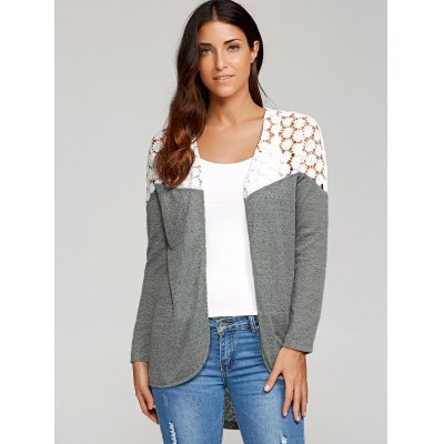 Lace Patchwork High Low Cardigan