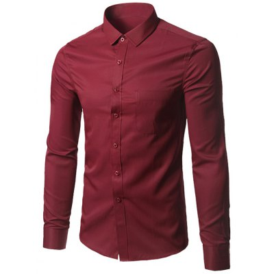 Male Pure Color Long Sleeve Formal Pink Shirt