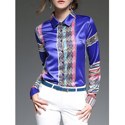 Colorful Stripe Patched Slim  Fit Satin Shirt