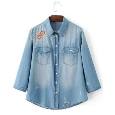 Distressed Floral Embroidery Denim Shirt