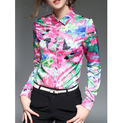 Printing Slim  Fit Satin Shirt
