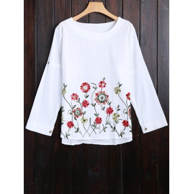 Long Sleeve Flower Embroidered Blouse