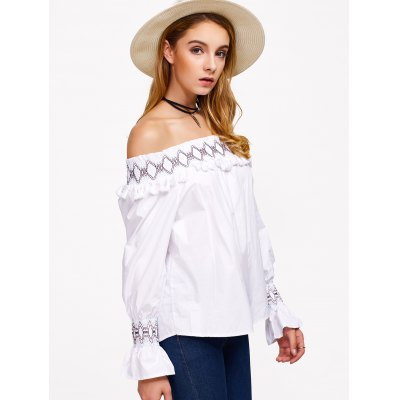 Off The Shoulder Long Sleeve Chiffon Blouse