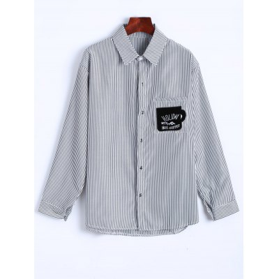 Letter Patched Striped Number Embroidered Shirt
