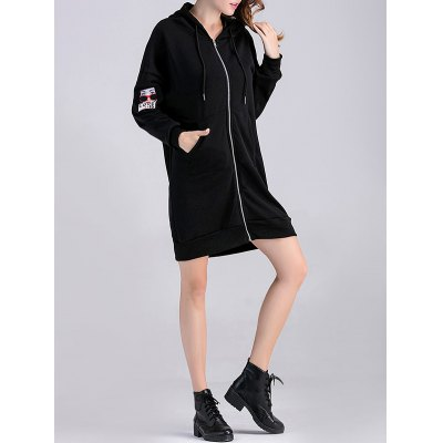 Zipped Portrait Applique Thicken Maternity Hoodie