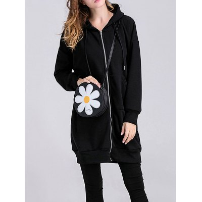 Applique Thicken Zipped Maternity Hoodie