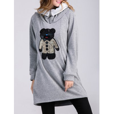 Bear Applique Maternity Hoodie