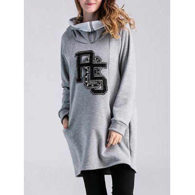 Thicken Number Applique Maternity Hoodie