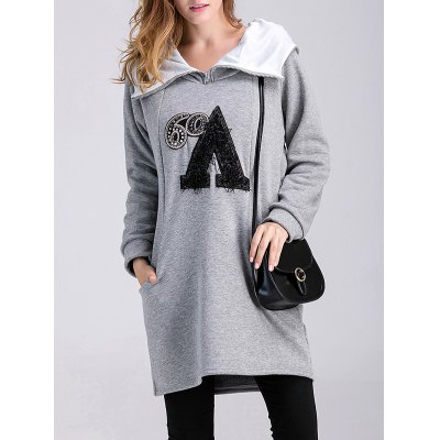 Letter Applique Maternity Hoodie