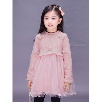 Kids Long Sleeve Bowknot Mini Ball Gown Dress