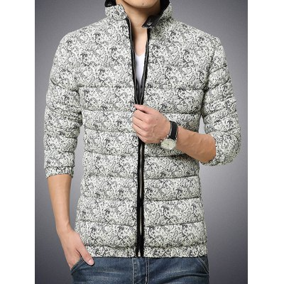 Zip Up Paisley Printed Quilted Jacket