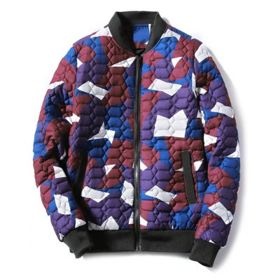 Stand Collar Geometric Camo Padded Jacket