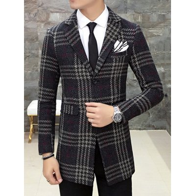 Single Breasted Lapel Wool Mix Checkered Coat