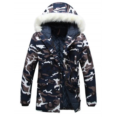 Zip Up Camouflage Fur Hooded Padded Coat