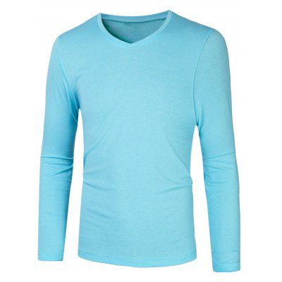 V Neck Long Sleeve Basic Tee