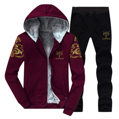 Flocking Hoodie and Drawstring Pants Twinset