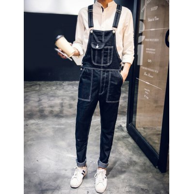 Multi Pocket Design Narrow Feet Denim Overalls